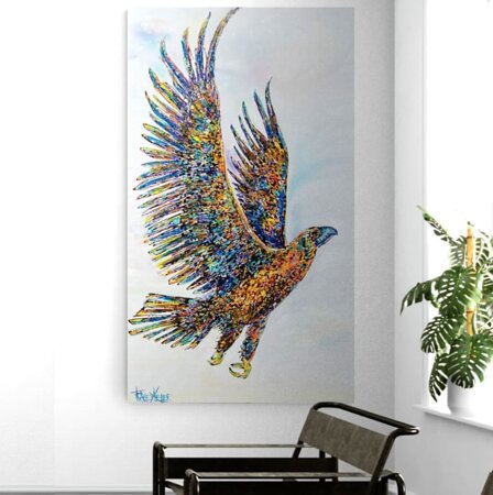 """""""When a storm is coming, all other birds seek shelter. The eagle alone avoids the storm by flying above it. So, in the storms of life, may your heart be like an eagle's and soar above."""" - Anonymous  Tracey Keller Original Soaring Acrylic Microflow and Resin on Canvas 180cm x 103cm $5440"""