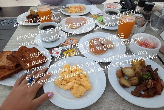 LEVANTATE TEMPRANO a 7am para el desayunooo! repite lo que quieras sin precio alguno es buffet. Puedes llevar a la habitacion tambien.