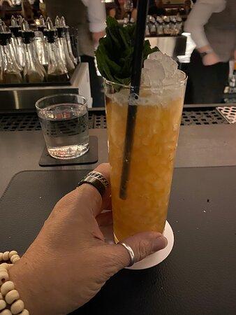 """Little Trivoli"" (Old Forrester Bourbon, amaro ciociaro, crème de peche, spicy ginger, lemon & fresh pineapple in a tall glass with lots of ice + fresh mint)"