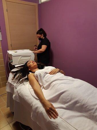cabina trattamenti. stavo per iniziare il trattamento viso.