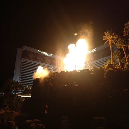 Las Vegas, NV: The Volcano 🌋 show in front of the Mirage hotel.  What a fabulous show. I believe a 5-10 display that will get your heart a pumping.  Great show, I highly recommend it.