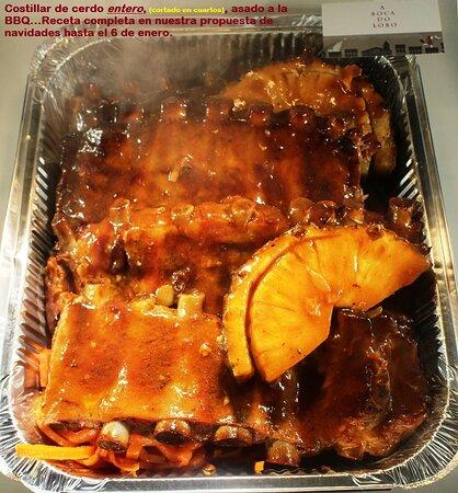 NAVIDADES: Costillar de cerdo al a BBQ, CON PATATAS Y PIÑA ASADA