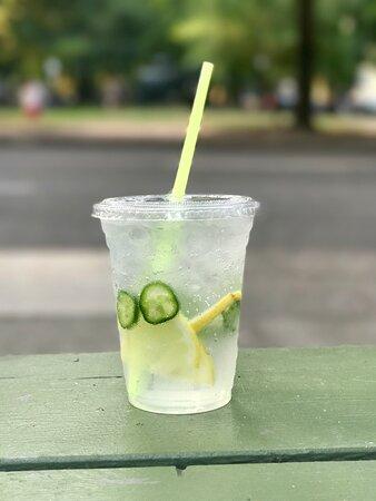 Tall Lemon - sparkling jalapeño lemonade with fresh mint, lemons, and jalapeño pepper slices