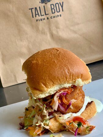 Tall Boy Slider - Alaskan Pacific Cod, our special cabbage slaw, pepperoncini tartar sauce, FYM hot sauce