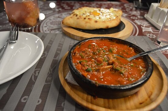 Khachapuri and delicious meat stew