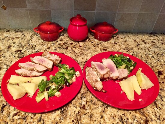 Sudbury, MA: Ahi tuna steak made in the air fryer with baked potatoes and green salad with blueberries and cucumbers