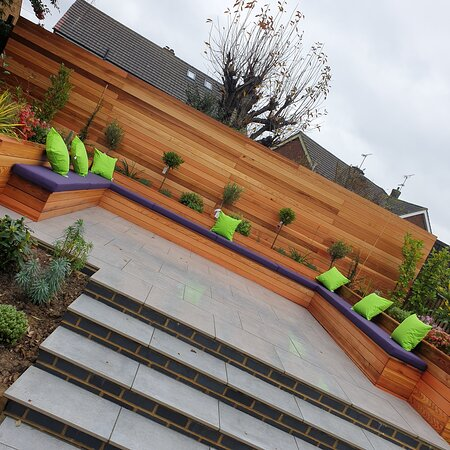 Custom waterproof cushion covers for a newly landscaped garden