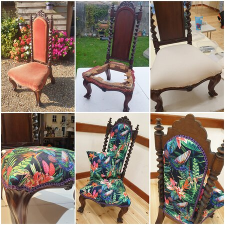 Re-upholstered chair.  Fabric chosen by the customer.