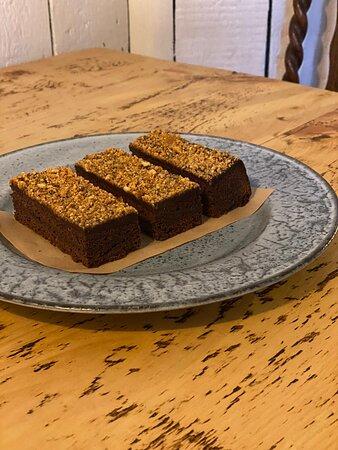 Homemade triple chocolate hazelnut  brownie