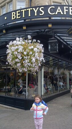 Betty's Tea Rooms in Harrogate - the iconic tea room and restaurant in the centre of town. If you can afford it , try the afternoon tea, which is a stand with cakes, scones and sandwiches with tea - it's amazing
