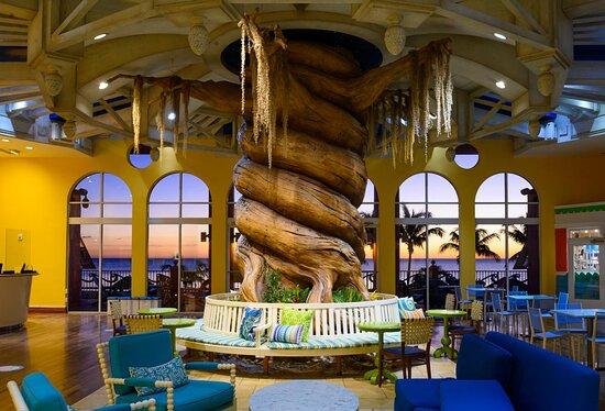 The lobby at Pink Shell Resort features a large Banyan tree trunk.