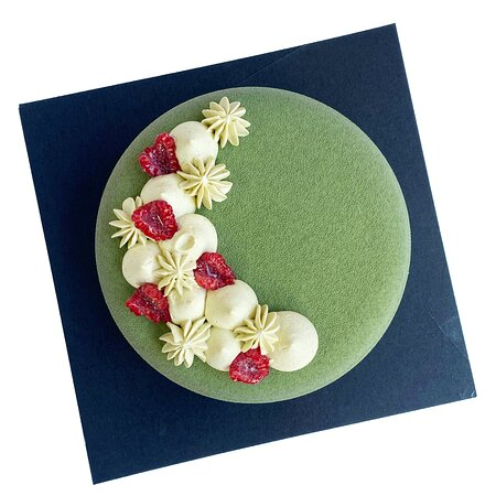 Pistachio Entremet (Gluten-Free) It is made of pistachio & white chocolate mousse, raspberry compote, raspberry mousse, pistachio sponge and white chocolate crunch layer. A perfect dessert for intense pistachio & raspberry flavour lovers!