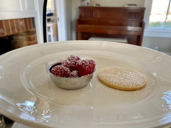 Home-made shortbread with their own farm-to-table raspberries!