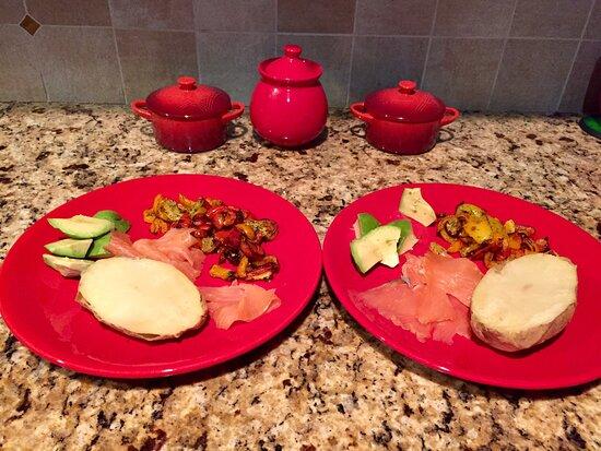 Sudbury, MA: Smoked salmon with baked potatoes, avocado and roasted peppers