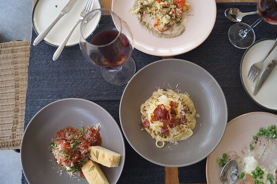 yummy carbonara, meatballs, octopus, wine what else could you ask for?