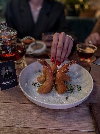 Креветки темпура с соусом васаби
