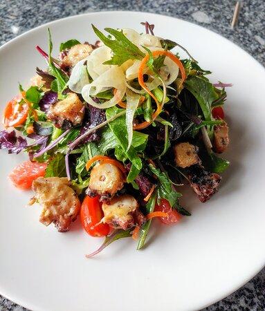 Octopus Salad  poached & grilled octopus | organic mixed greens and arugula | pickled fennel, seasonal citrus supremes, tomato, carrot and gusto oregano vinaigrette | fresh lemon* (gf) 15