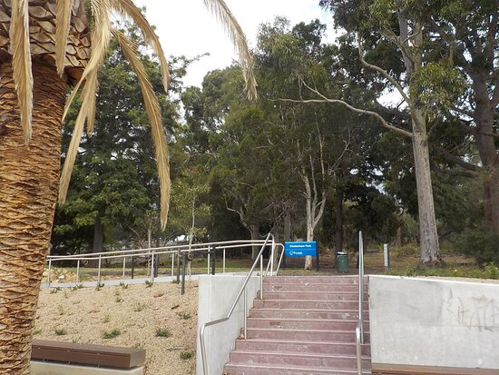 ramp to left and stairs straight ahead, walking from the Railway Station