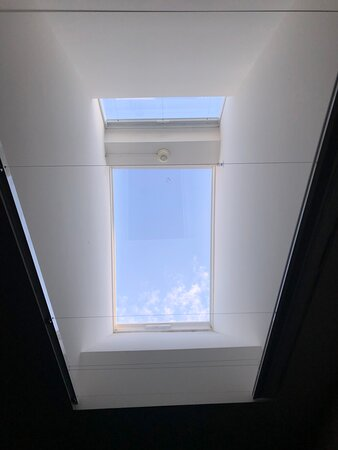 Overhead window located in room 12 - the only window in the room.