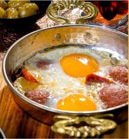 Egg with sausage