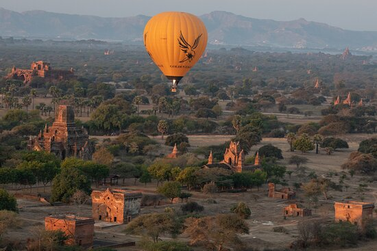 Balloons Over Bagan: View from balloon over Bagan.