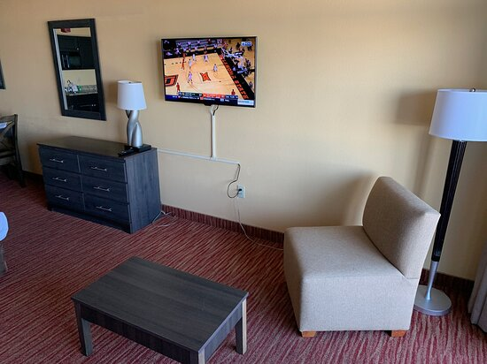 Room 430 Easy Chair, Coffee Table and Big Screen TV