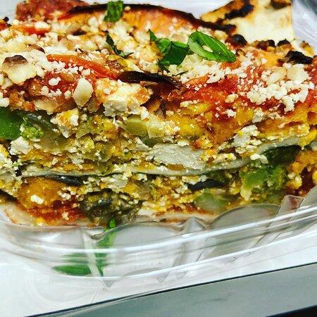 Sweet Potato Lasagna with Garden of Esther vegan lasagna sheets. This dish is on our menu rotation.