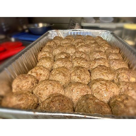 A tray of our homemade meatballs fresh out of the oven. Yum!