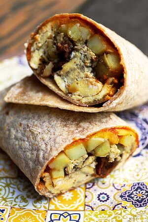 Rhododendron, OR: The veggie sausage breakfast burrito with sun-dried tomato tapenade gouda, soft potatoes and eggs. Its a grab n Go!