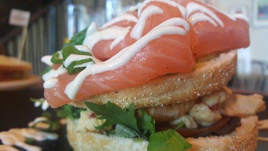 Salmon sandwich upclose