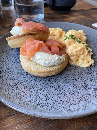 Yum! Freshly made crumpets with salmon, lemon and dill fraiche.