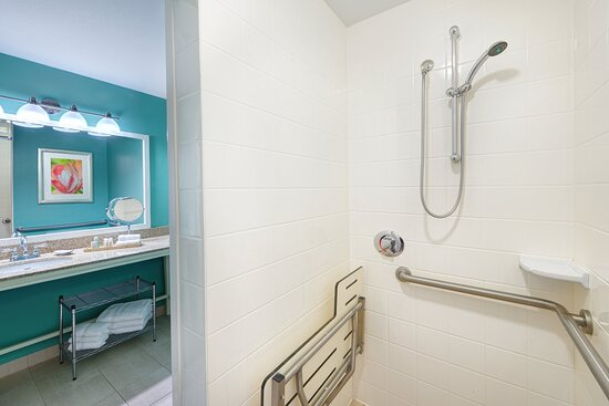Spa-inspired shower and bathrooms with wheelchair access.
