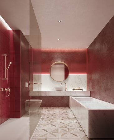 Bathroom decorated in a royal red themed style.