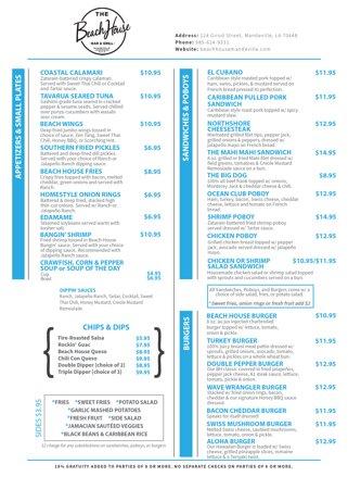 Food Menu page 1 - January 2021
