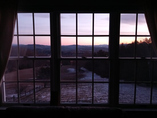 Sunrise view from the Valley View room.