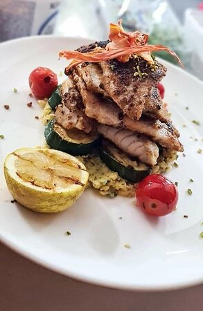 Brown Meagre - Grilled Zucchini - Basil Chickpea Puree