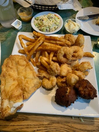 Fried Flounder, Scallops and Shrimp with Hush puppies