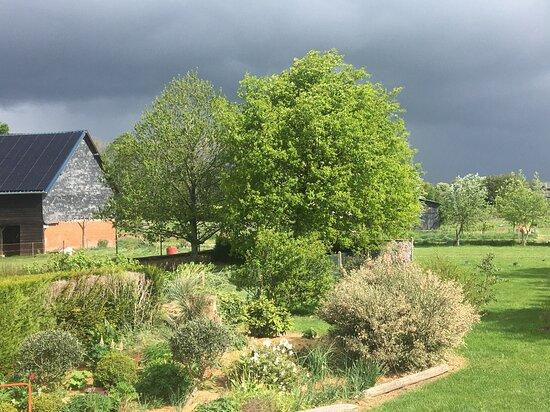 Sainte-Marie-des-Champs, צרפת: Une vue du jardin par temps orageux