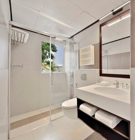 Polish and sleek restrooms