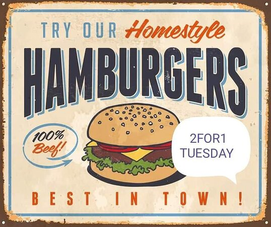 Buy one get one free On burgers  Weekly specials buy one get one half price  Eat in only