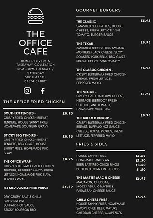 THE OFFICE TAKEAWAY & DELIVERY 🍔🍟🍗  Tuesday - Saturday 5-8pm, taking orders for home delivery or collection on 01929 422111 or 07594 541009!   Homemade gourmet burgers, handcut fries, crispy wings, wraps, sides, buttermilk fried chicken & ever changing weekly specials advertised regularly on our Facebook and Instagram pages! 😋