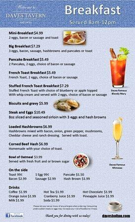 Breakfast - Saturday, Sunday and Monday