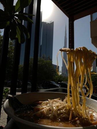 Ramen is enjoyed with view of Burj Khalifa.