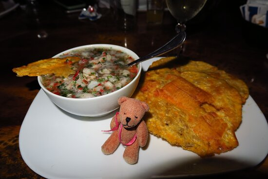Cobano, Costa Rica: Poquito Bear Loves Ceviche with  Patacones