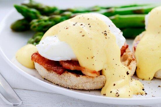 Breakfast in bed and Eggs Benedict