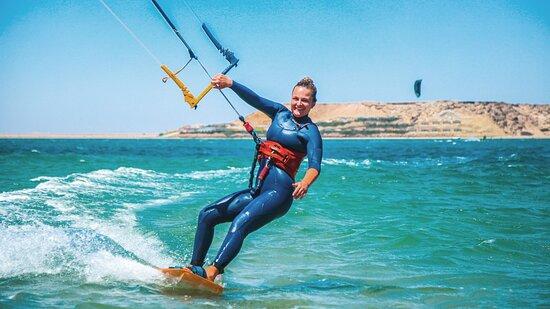 Kitesurfing at KBC Dakhla in Morocco.