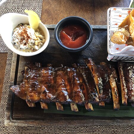 Delicious ribs and great service.