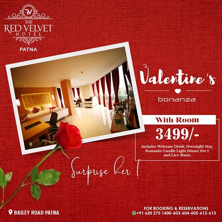 Let love and romance bloom this week of love! The Red Velvet Hotel brings to you Valentine's Bonanza. For the perfect surprise, make your bookings by ringing us at - +91 6202751600-03-04 or for more information, visit our website www.redvelvethotel.com