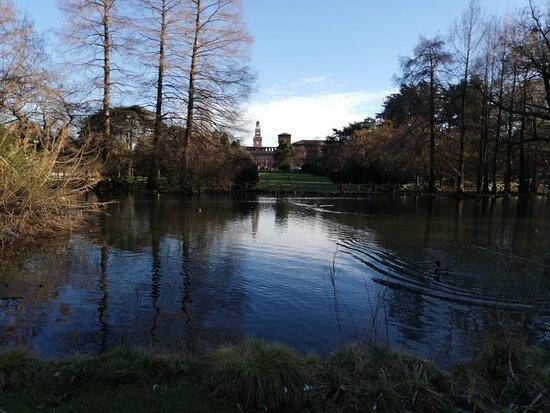 Milan, Italy: Il Castello Sforzesco in inverno dal Parco Sempione