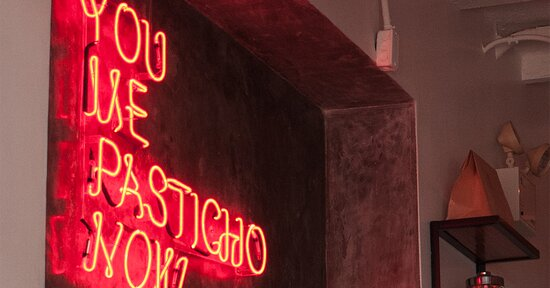 The iconic motto: You, Me, Pasticho, Now.